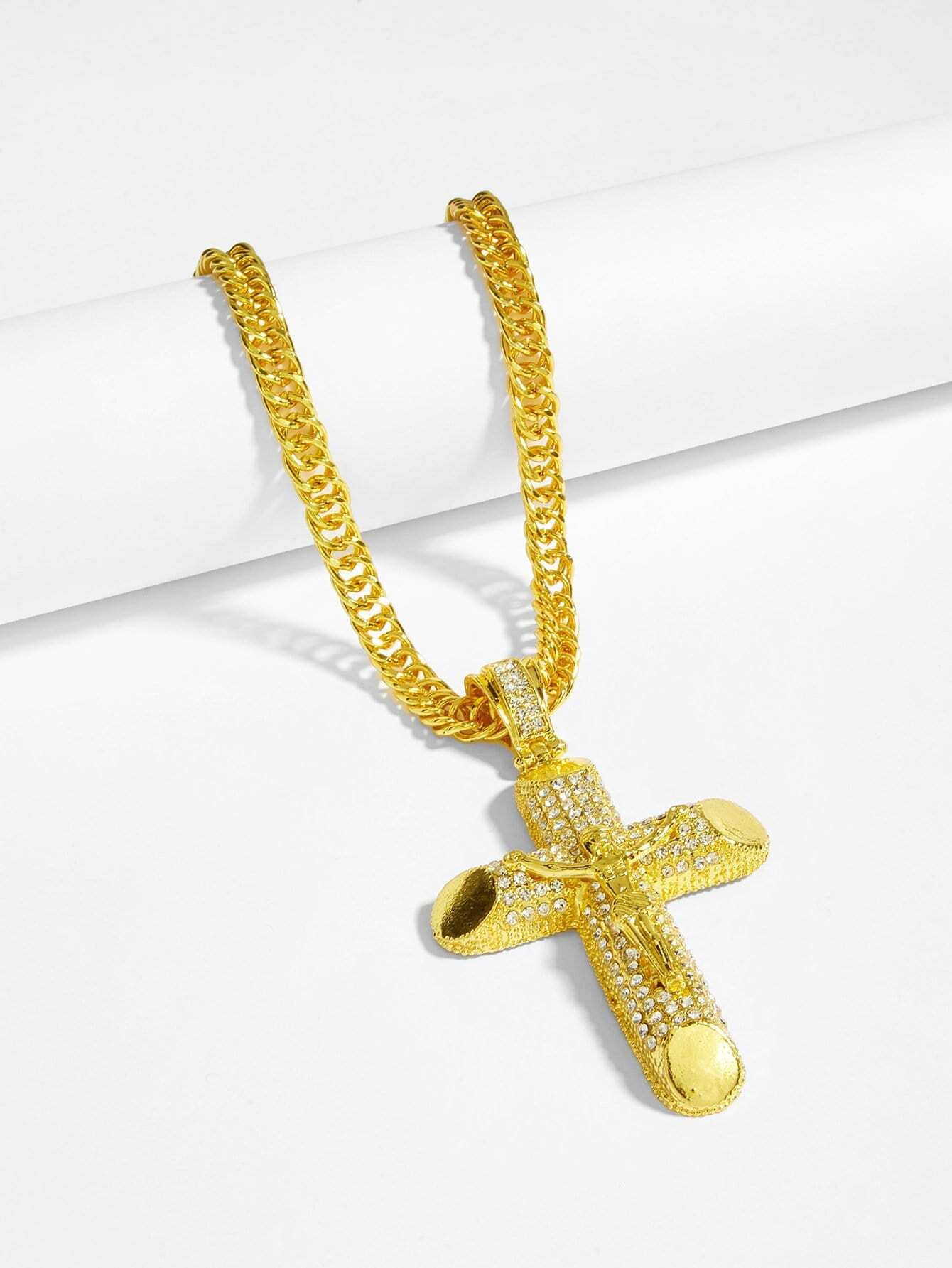 Men Rhinestone Engraved Cross Pendant Necklace