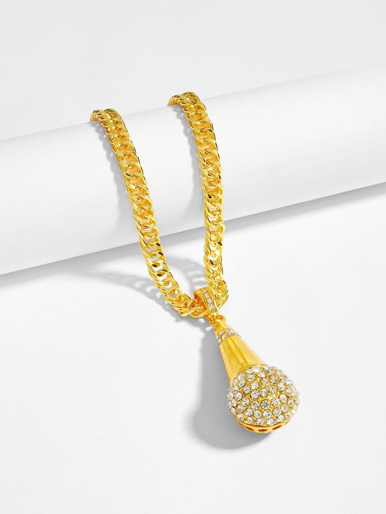 Men Rhinestone Microphone Pendant Necklace