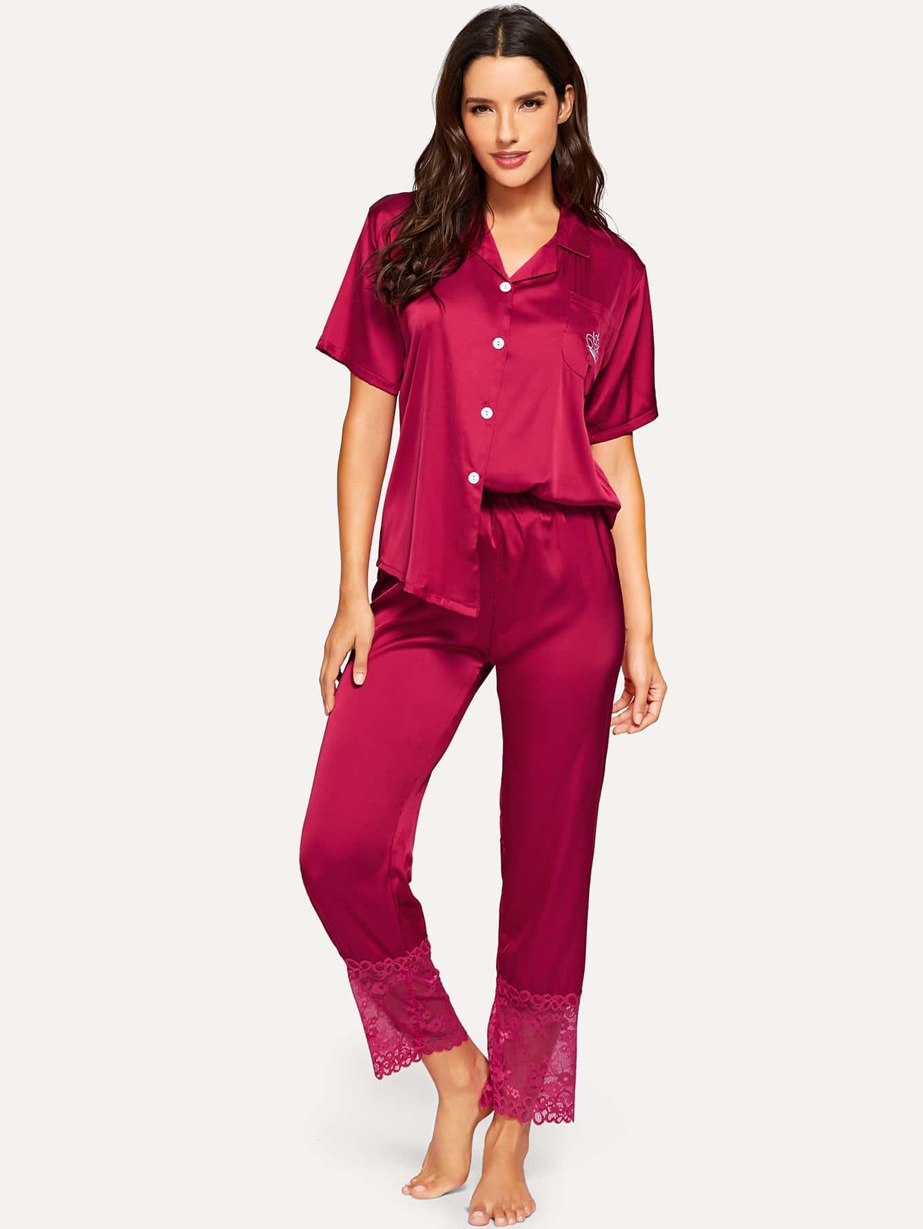 Купить Нобор пижамы с украшением короны вышивки и со симметрическими кружевами, Juliana, SheIn