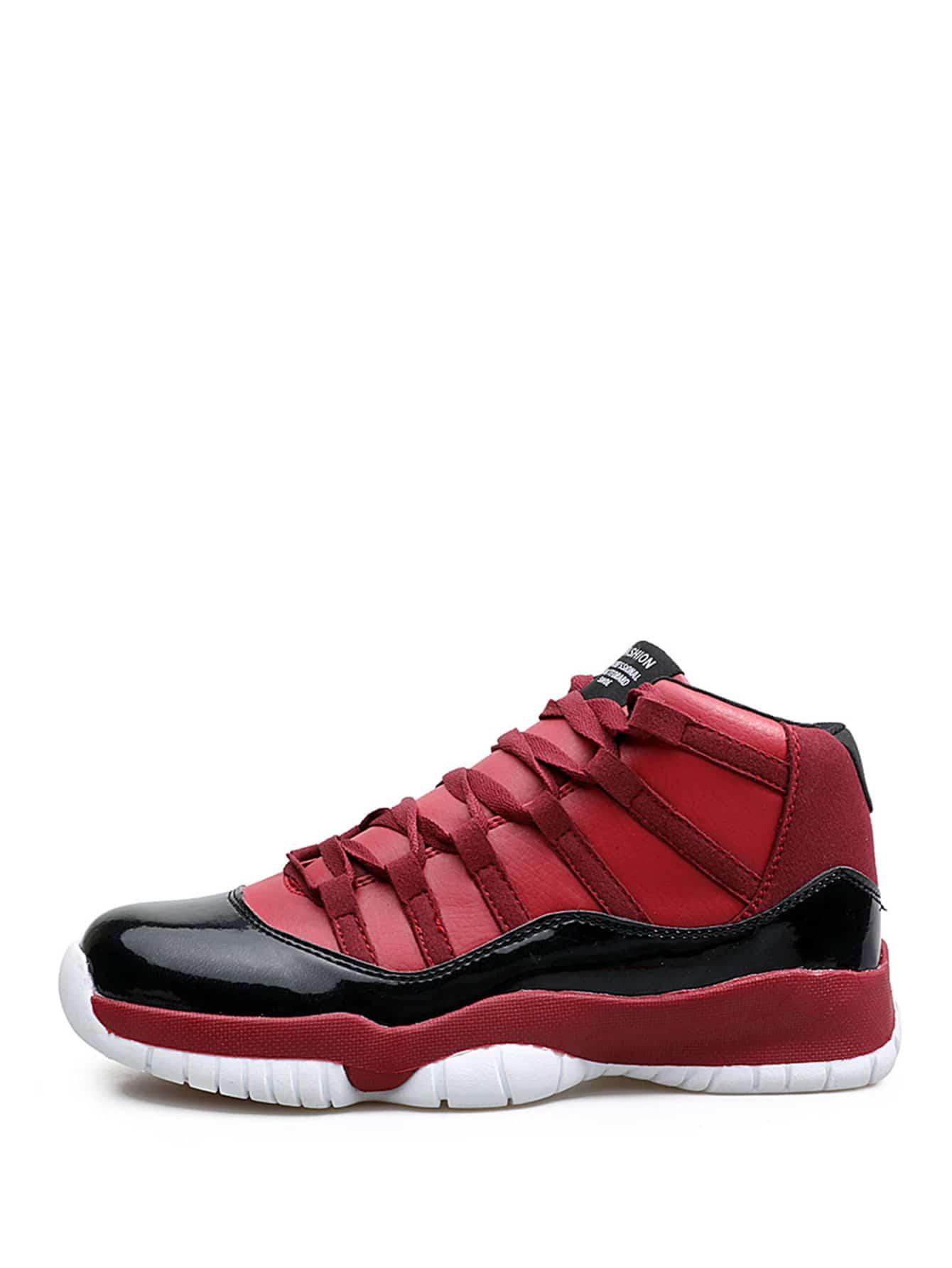 Купить Стиль кэжуал Круглый носок Красный Мужские кроссовки, null, SheIn