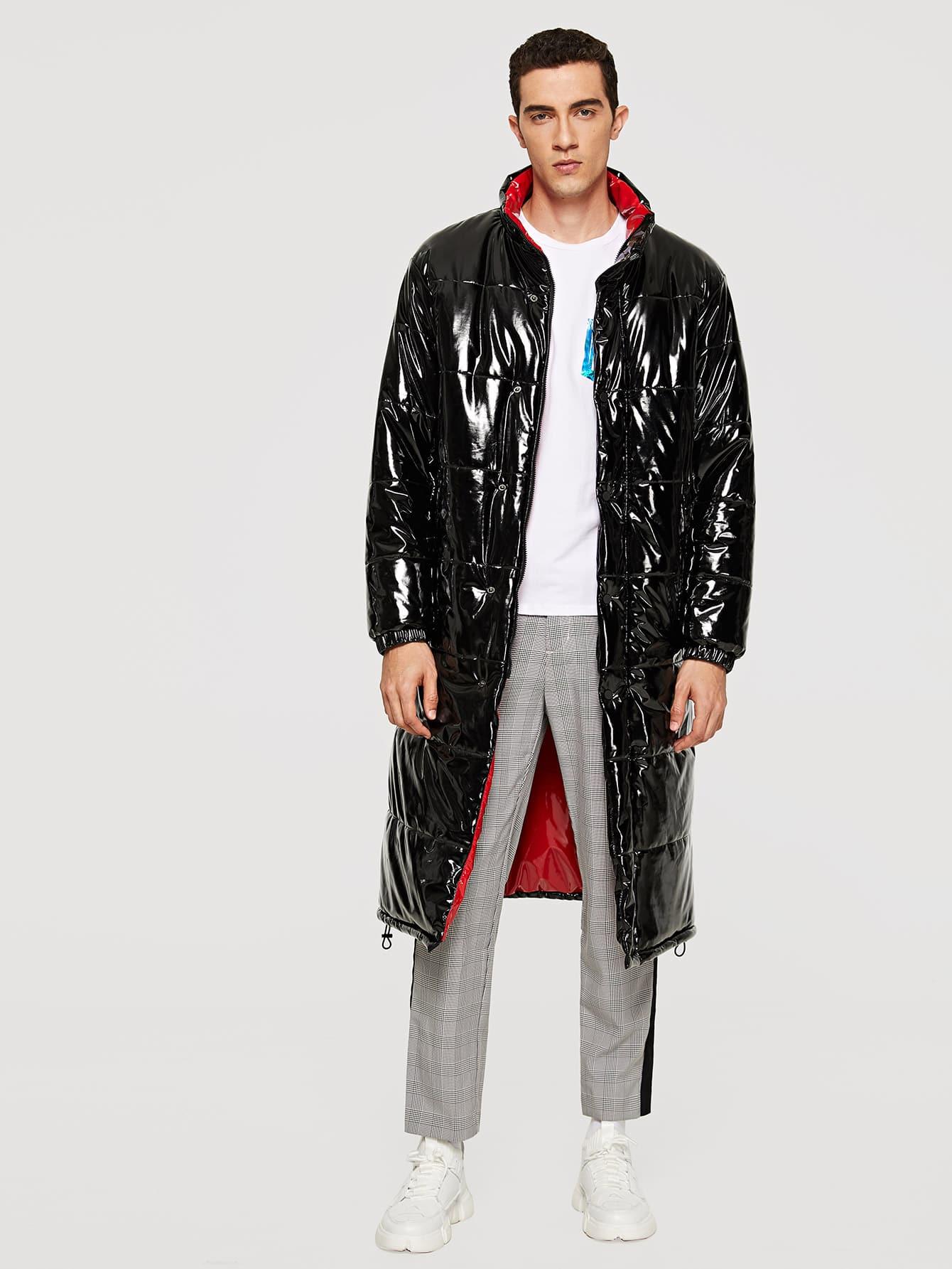 Купить Кожаное пальто с украшением пуговицы и с застёжкой молния для мужчины, Lucas, SheIn