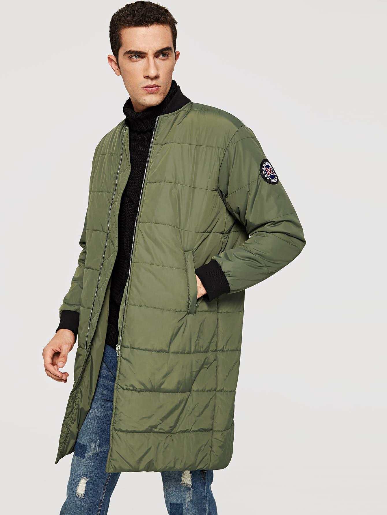 Купить Пальто с застёжкой молния и с украшением заплаты для мужчины, Lucas, SheIn