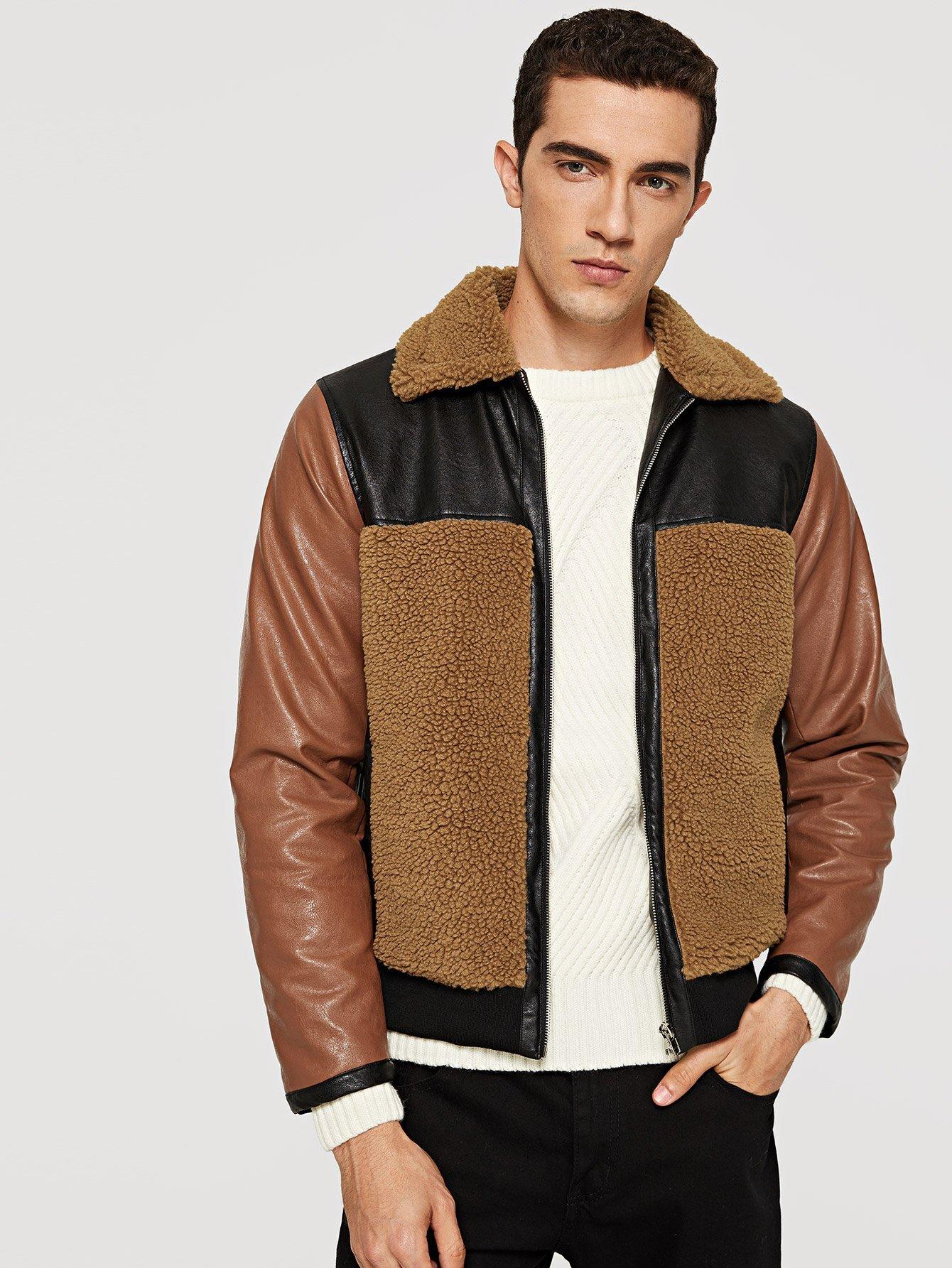 Купить Кожаное пальто с застёжкой молния для мужчины, Lucas, SheIn