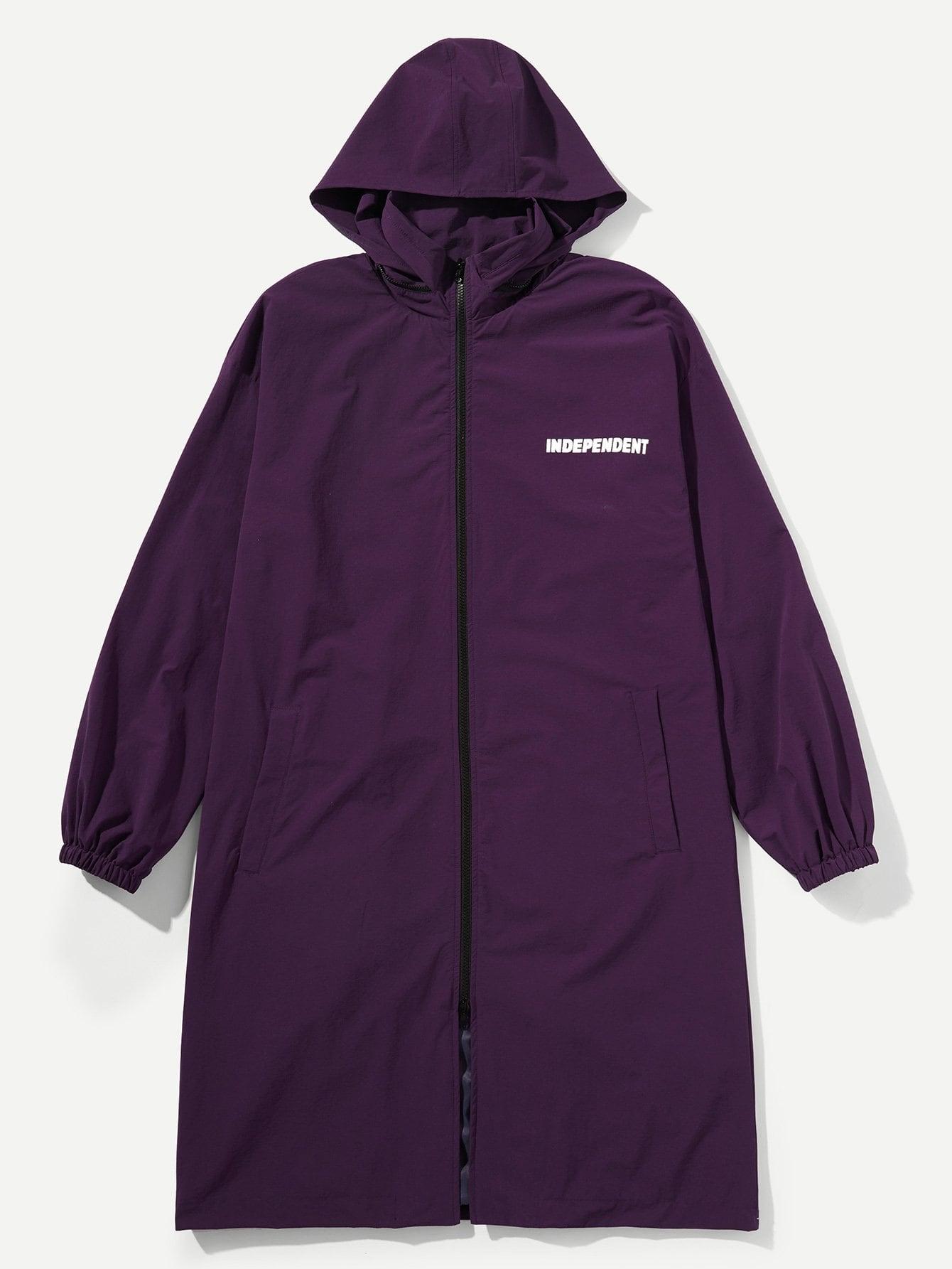 Купить Пальто с капюшоном и с рисунками буквы и с застёжкой молния для мужчины, null, SheIn