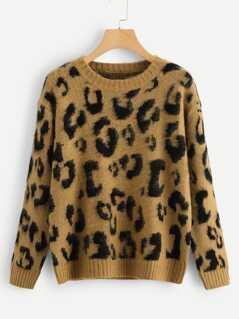 Leopard Print Fuzzy Jumper