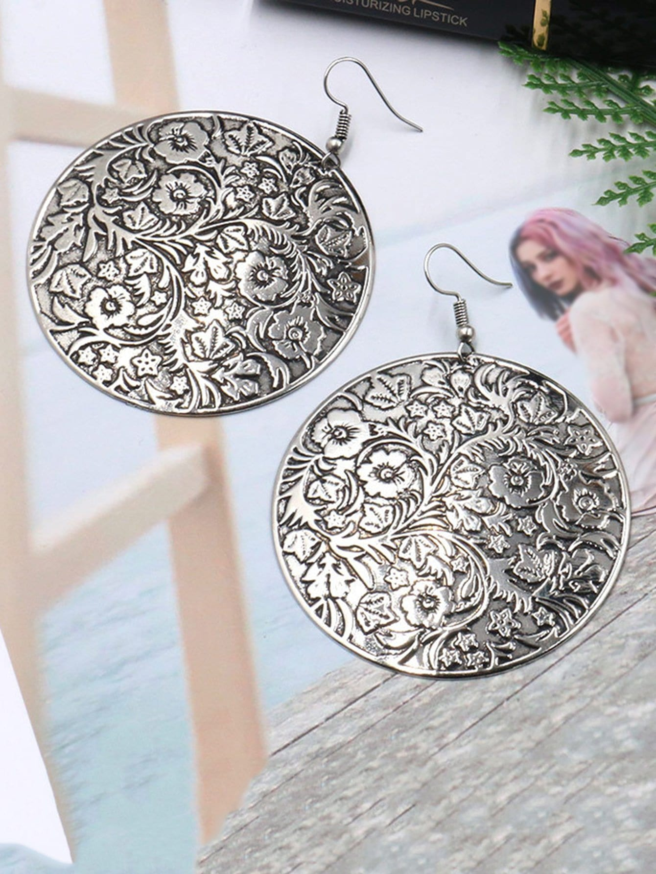Floral Embossed Round Drop Earrings