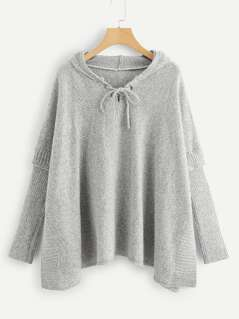 Grommet Lace Up Marled Hoodie Sweater