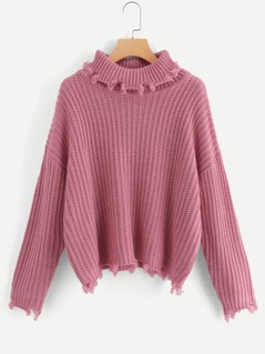 Raw Cut Trim Solid Sweater