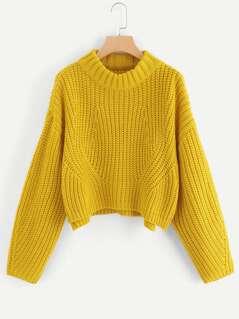 Drop Shoulder Step Hem Sweater