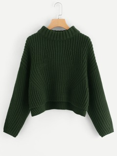 Drop Shoulder Step Hem Sweater
