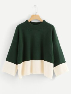 Drop Shoulder Two Tone Sweater