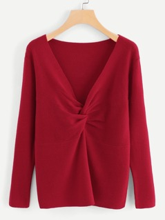 Cut And Sew Solid Twist Sweater