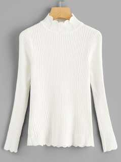 Scalloped Trim Ribbed Knit Sweater