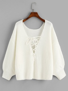 Lace Up V Neck Solid Sweater
