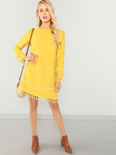 Keyhole Back Tassel Tunic Dress