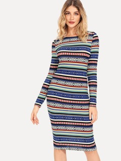 Aztec Striped Pencil Dress