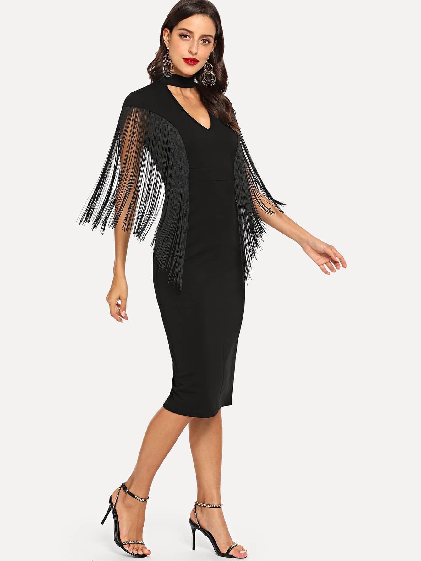 Купить Чокер шея твердое платье с кисточками, Mary P., SheIn