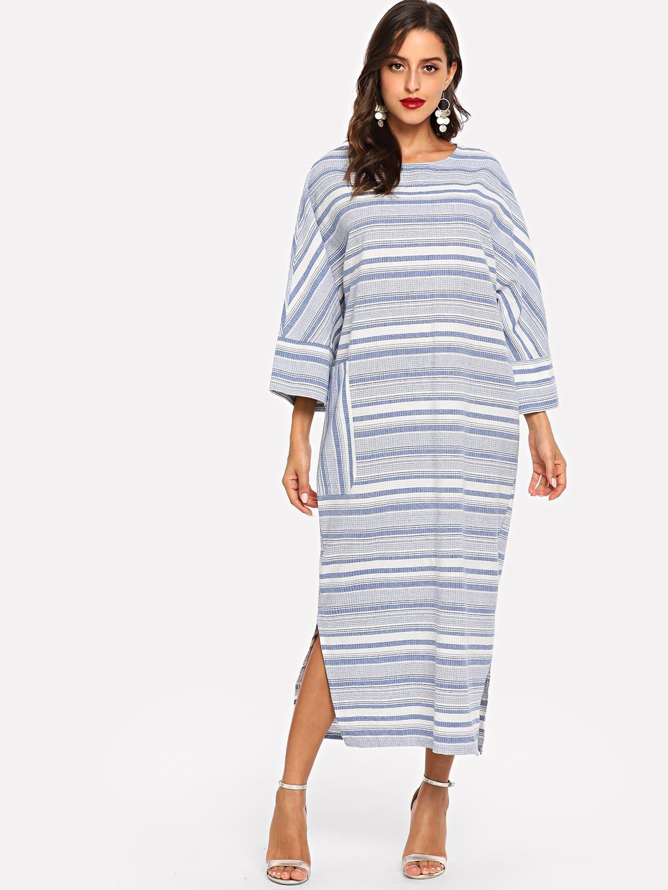 Купить Разделение платье в полоску с карманом, Mary P., SheIn