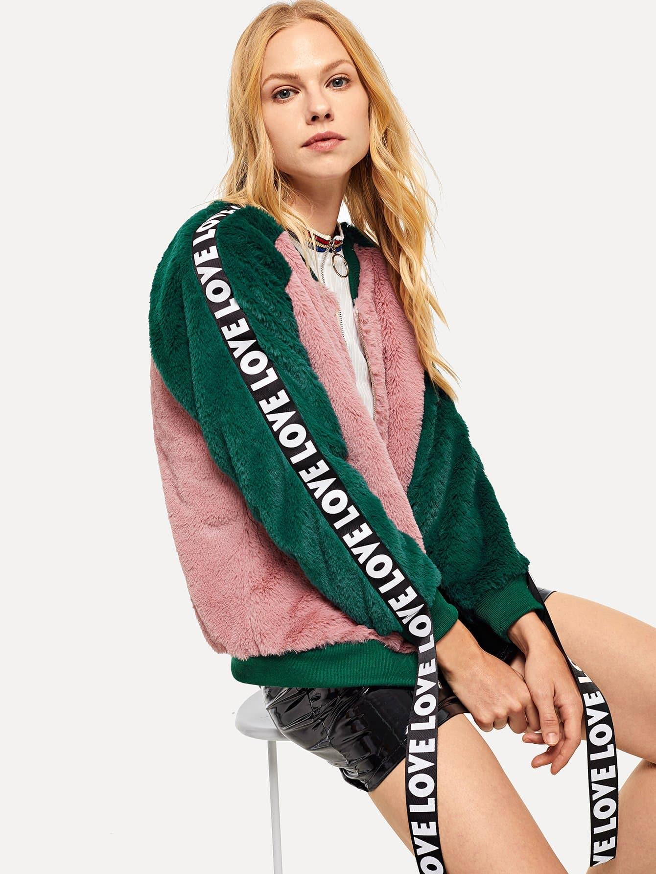 Купить Контрастная куртка из искусственного меха, Denisa, SheIn