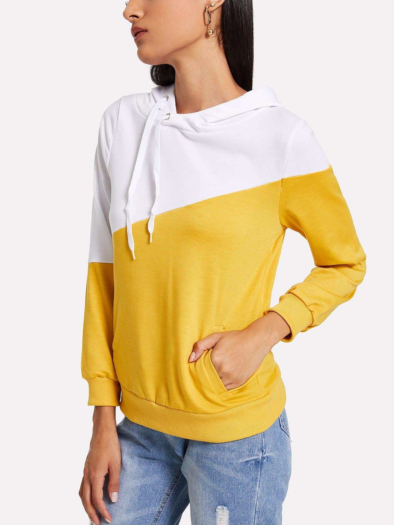 Купить Цветная кусковая спортивная футболка с капюшоном, Kary, SheIn