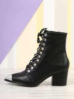 Lace Up Silver Cap Toe Boots