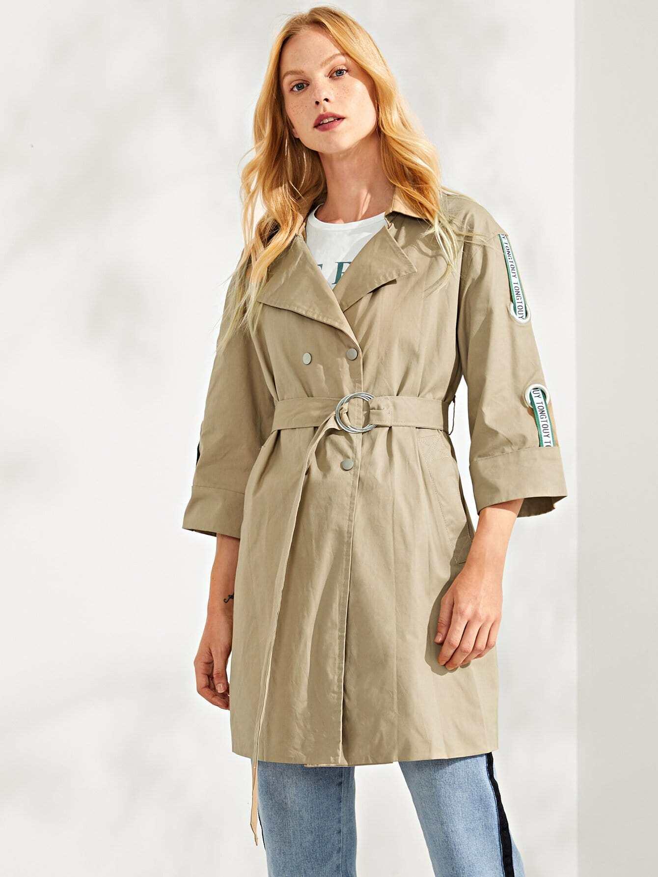 Купить Пальто с поясом и лента с рисунками буквы, Denisa, SheIn