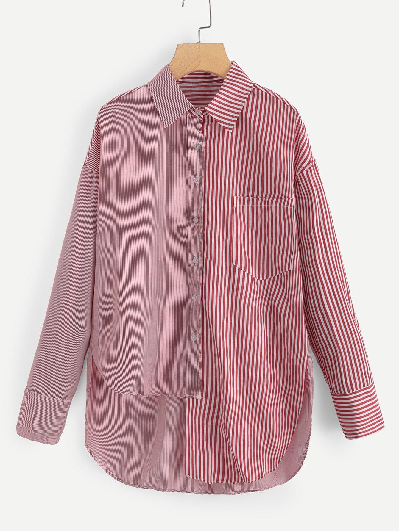 Contrast Stripe Asymmetrical Hem Shirt