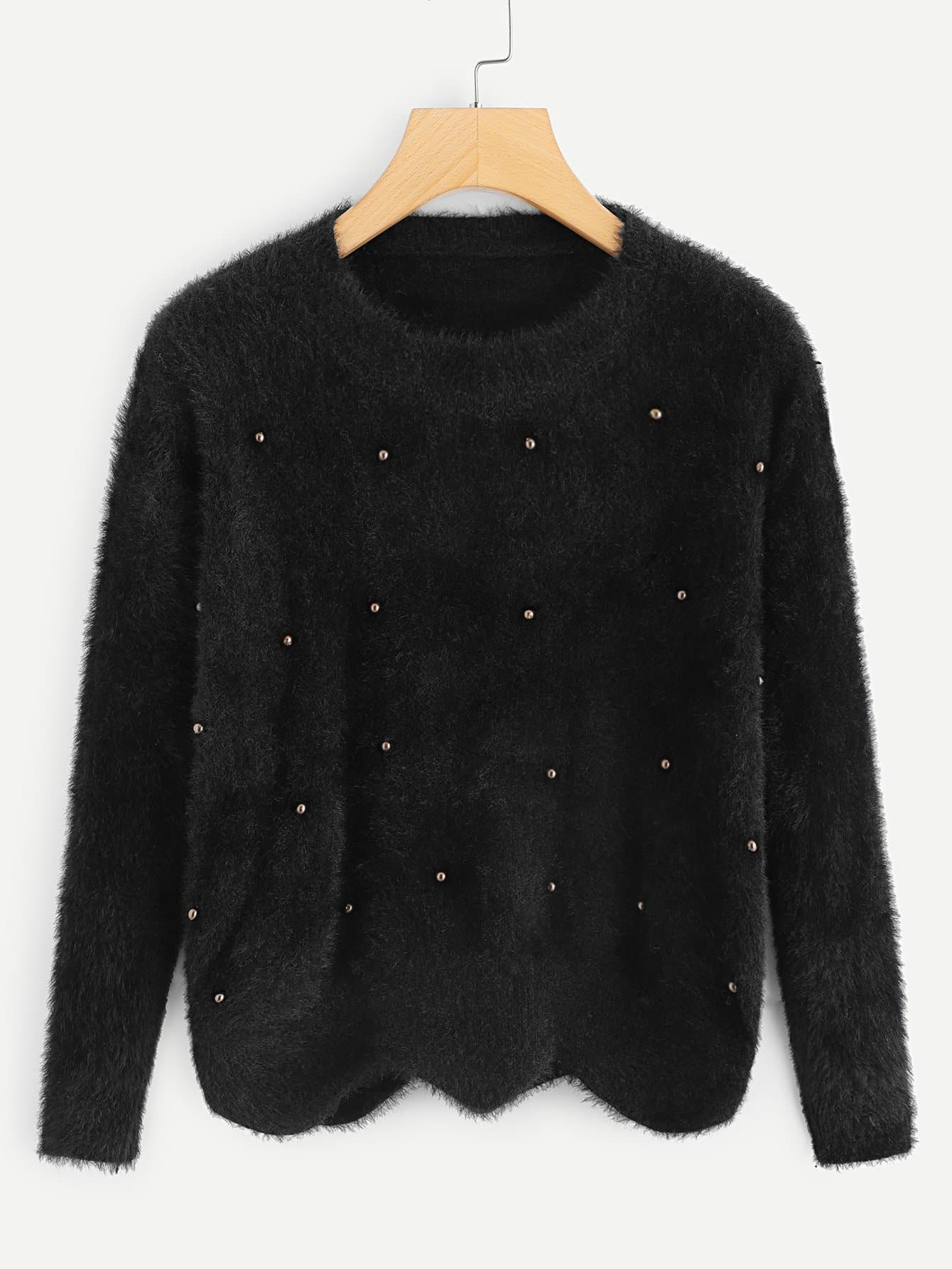 Pearl Beaded Wave Hem Mohair Sweater