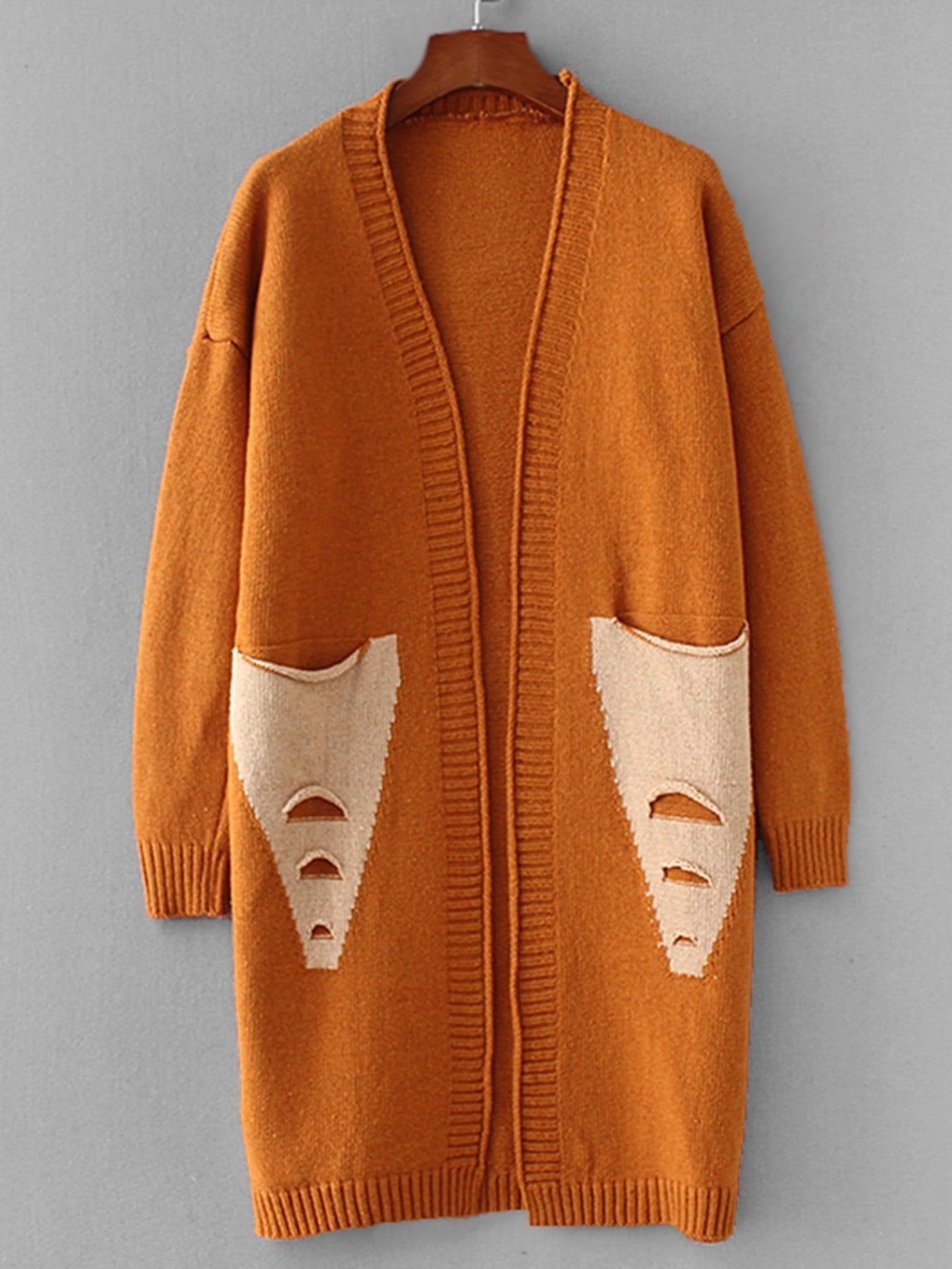 Купить Открытая фуфайка с заниженной линией плеч и со симметрическими карманами, null, SheIn