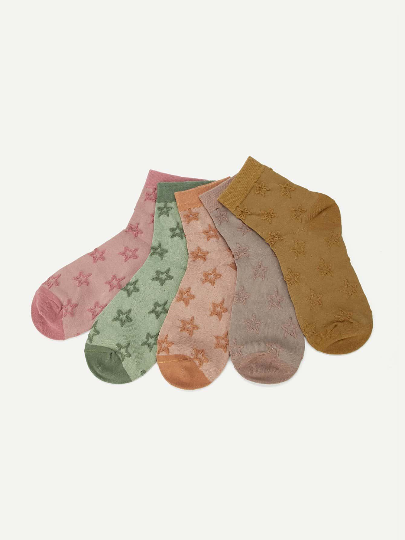 Купить Невидимые носки с рисунками звезд 5пар, null, SheIn