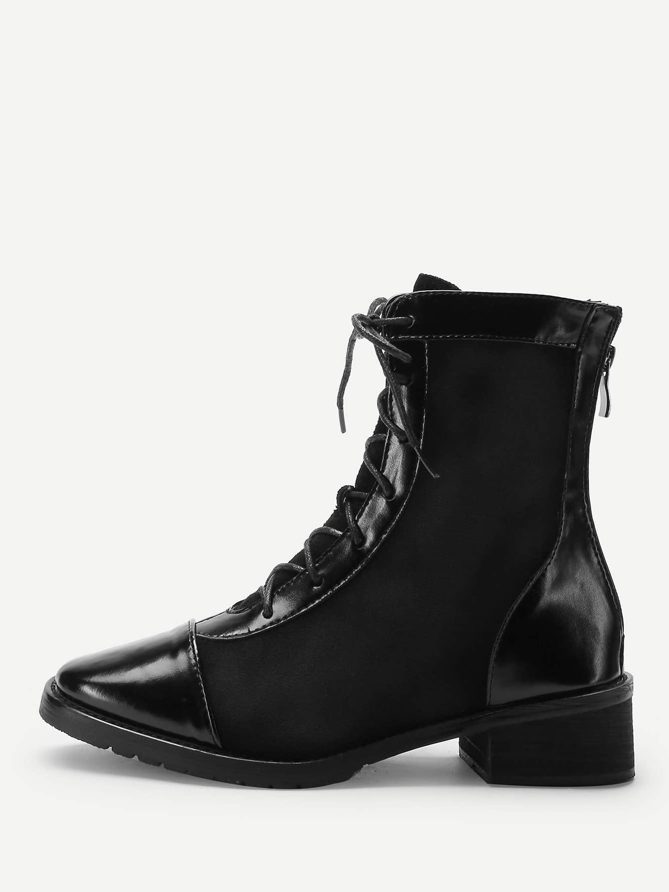 Back Zipper Lace-Up Boots