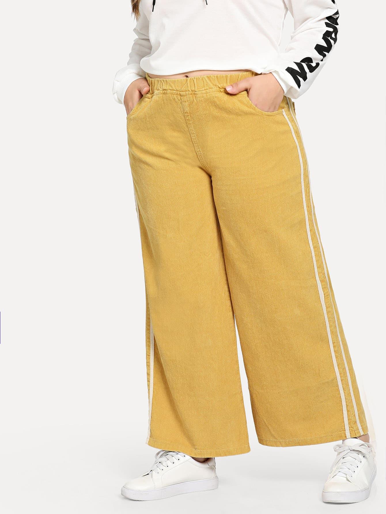 Plus Stripe Contrast Wide Leg Jeans