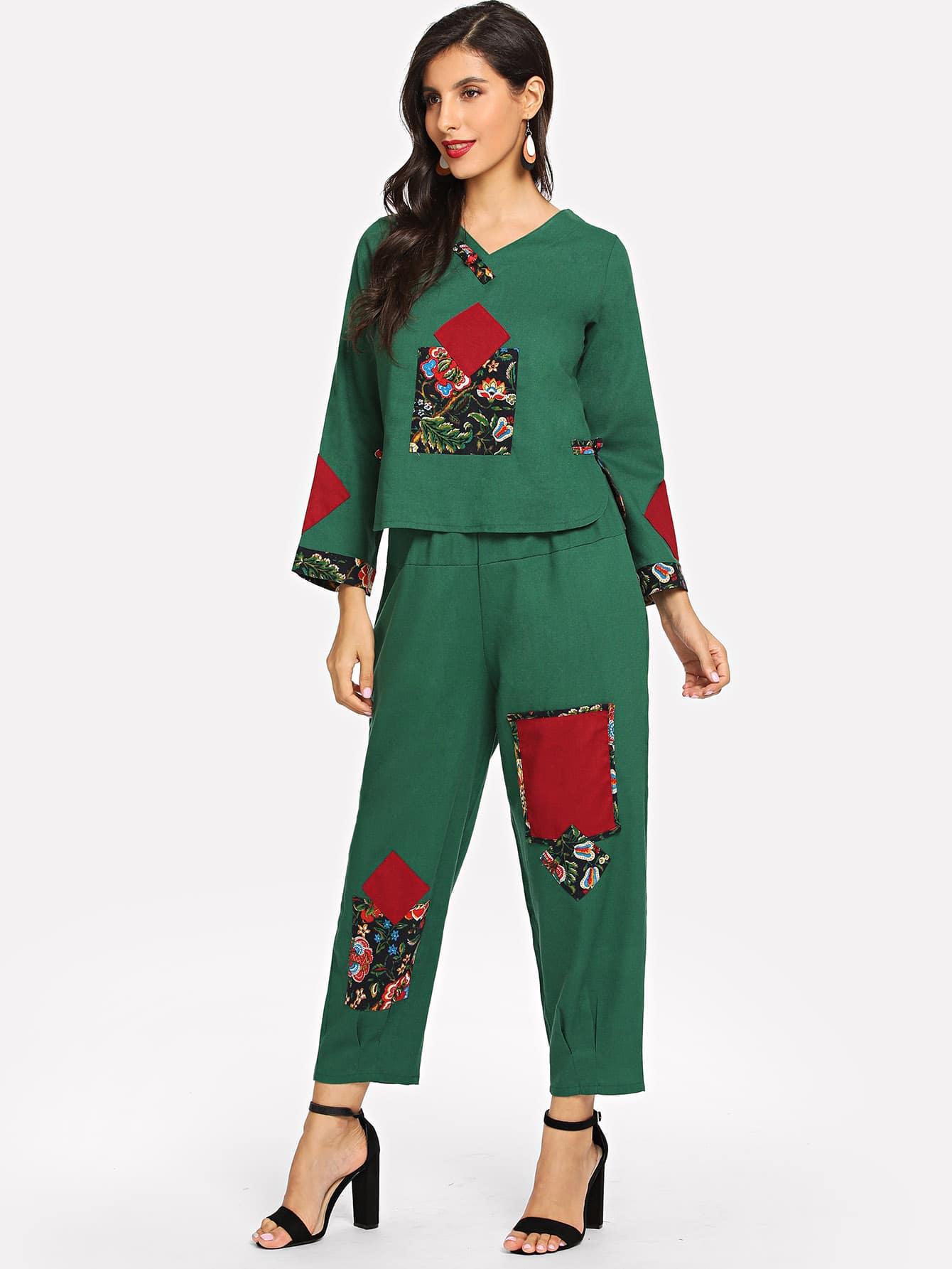 Купить Ситцевая блуза с V-образным вырезом и брюки, Jeane, SheIn