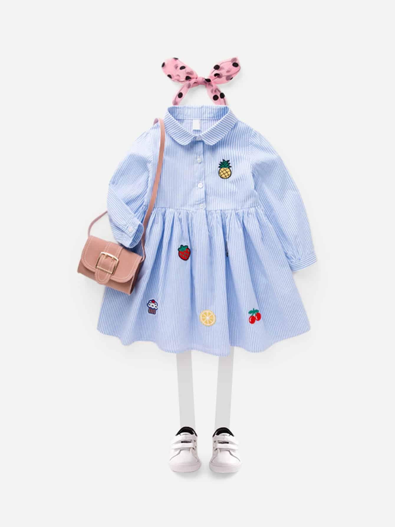 Купить Полосатое платье с рисунками вышитых фруктов для девочки, null, SheIn