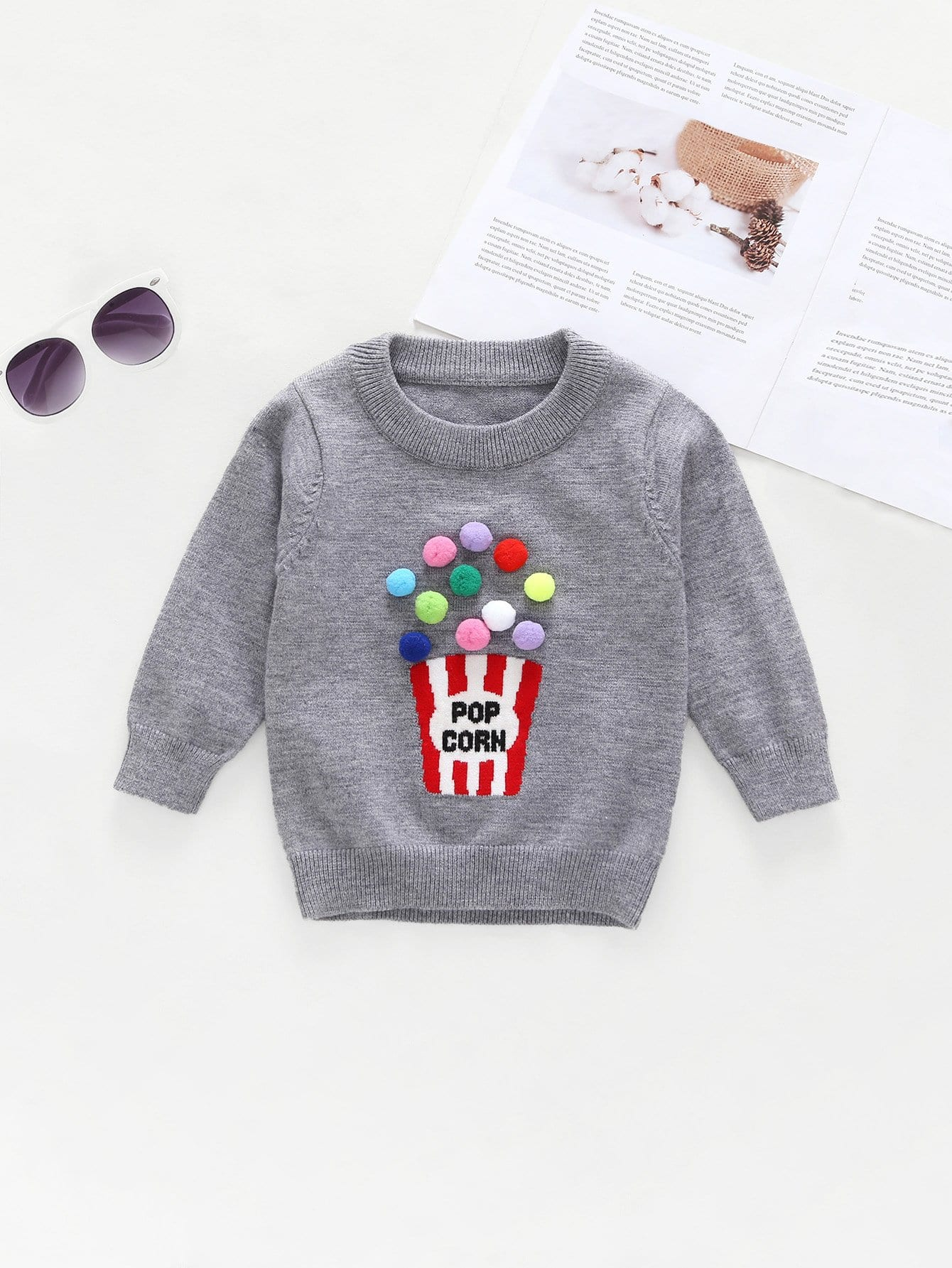 Girls Pom Derail Letter Print Sweater