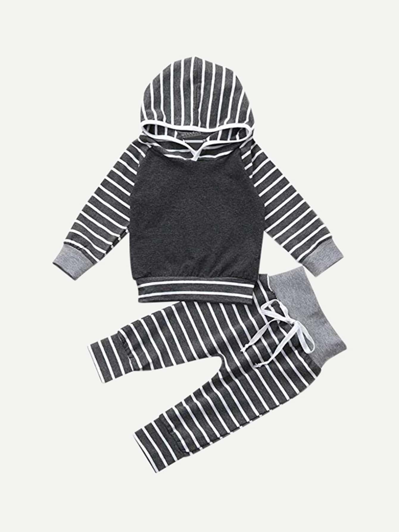 Boys Striped Hooded Top With Pants