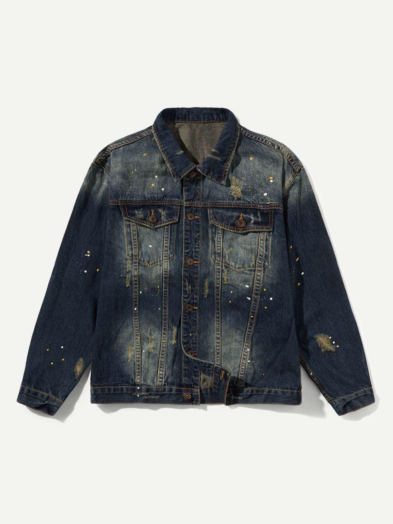 цена Men Paint Splatter Denim Jacket