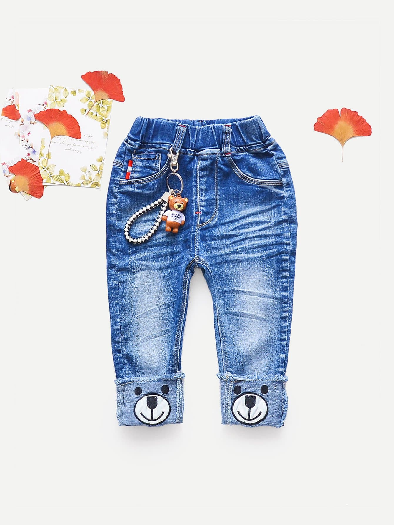 Girls Embroidery Rolled Hem Jeans