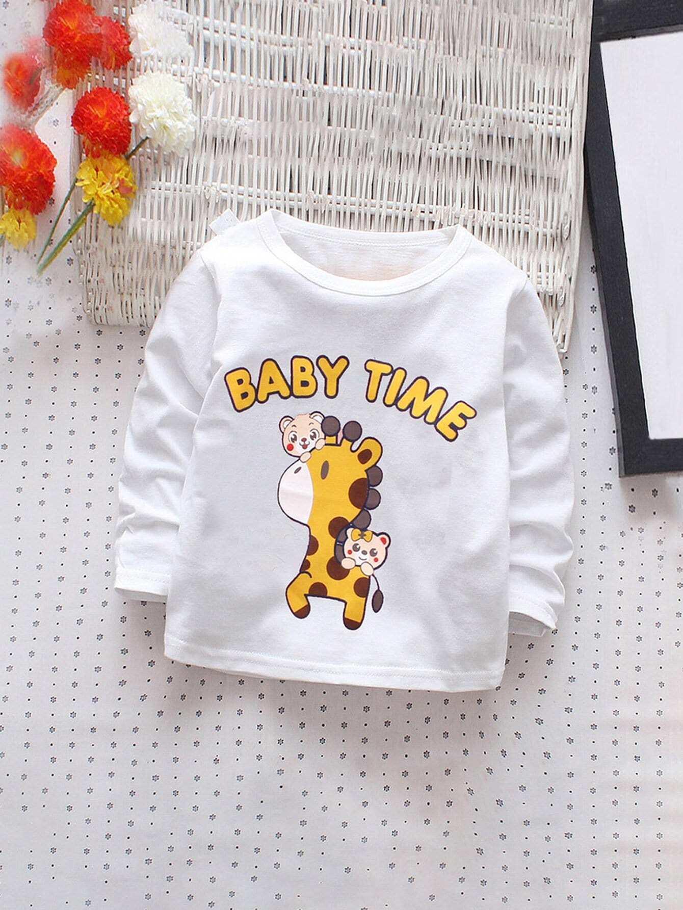 Купить Футболка с рисунками жирафы и буквы для девочки, null, SheIn