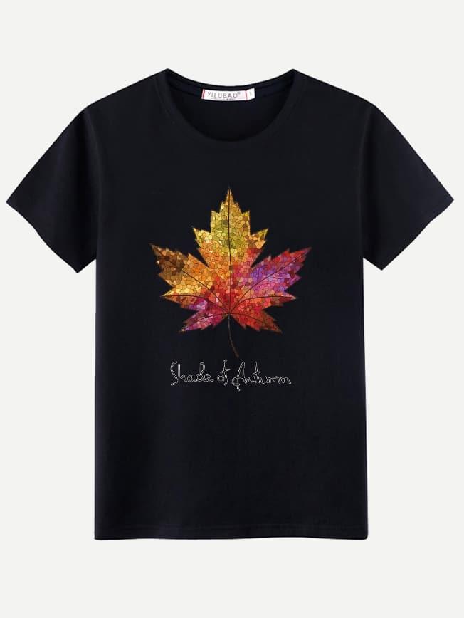 Купить Футболка с рисунками кленовых листьев и буквы для мужчины, null, SheIn