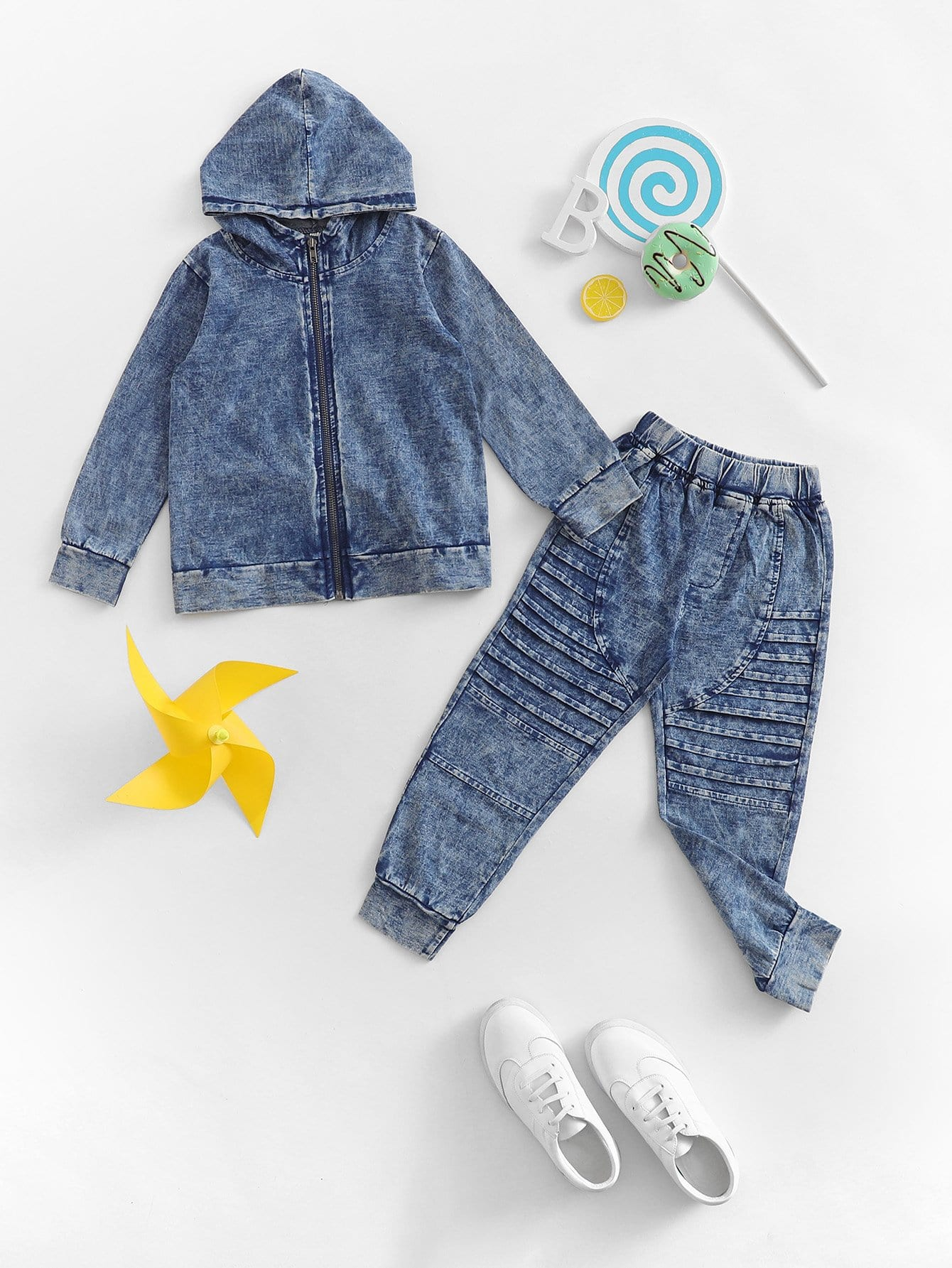 Купить Джинсовая ветровка с капюшоном и джинсы для девочки, null, SheIn