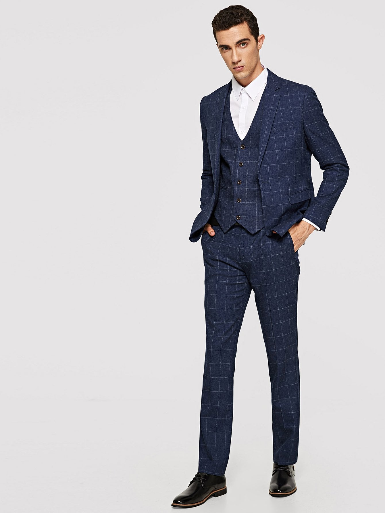 Men Plaid Blazer And Pants Set With Vest