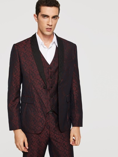 Men Jacquard Blazer And Pants Set With Vest