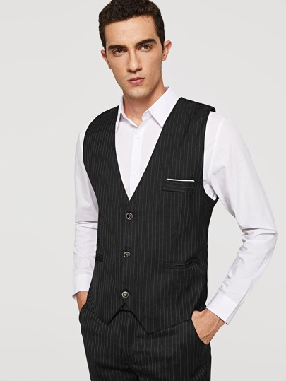 Men Striped Blazer And Pants Set With Vest
