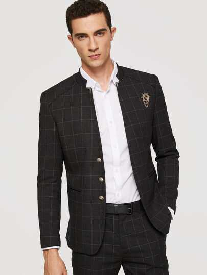 Men Plaid Split Back Blazer With Pants