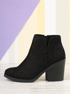 Round Toe Split Shaft Stacked Heel Ankle Boots