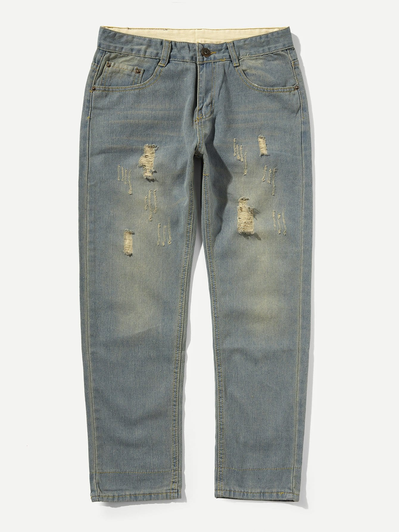 Men Rolled Hem Wash Jeans