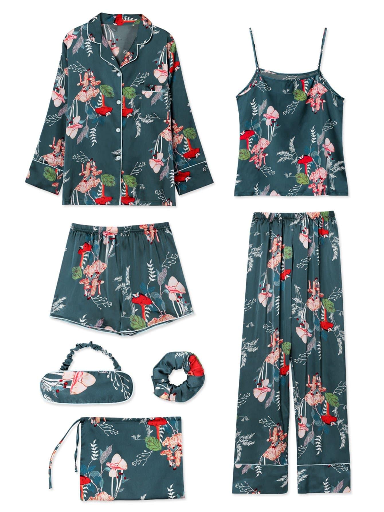 7Pcs Floral Print Cami Pajama Set With Shirt