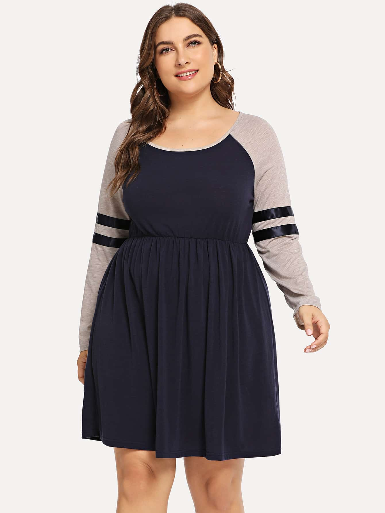 Купить Большая контрстная ночная сорочка со симметрическими полосами, Franziska, SheIn