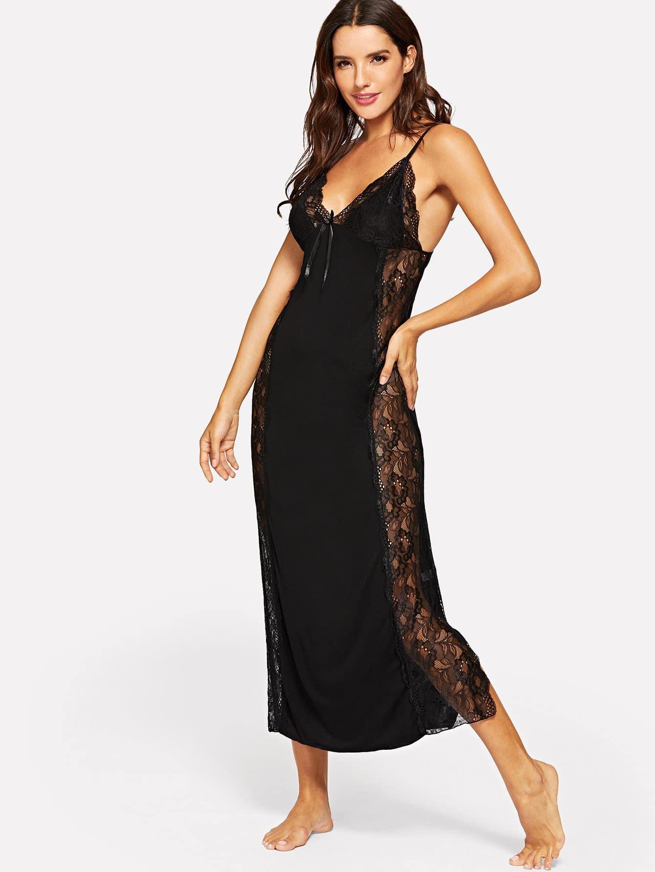Купить Длинное платье на бретелях с кружевами и трусы, Juliana, SheIn
